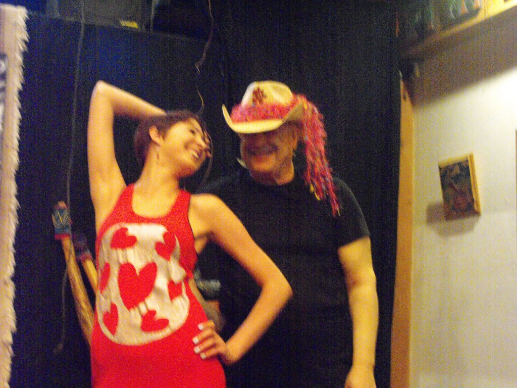 Tiffany in Red Hearts handpainted dress, & Gorby in LeslieAnn Cowboy Hat, during photoshoot for tattoo-fashions.com