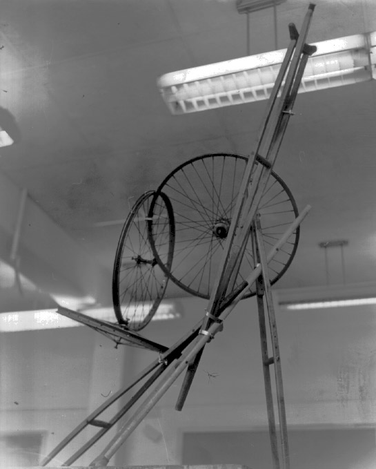 Bike Wheels & Crutches, sculpture by ej gold Otis Gallery, 1967.