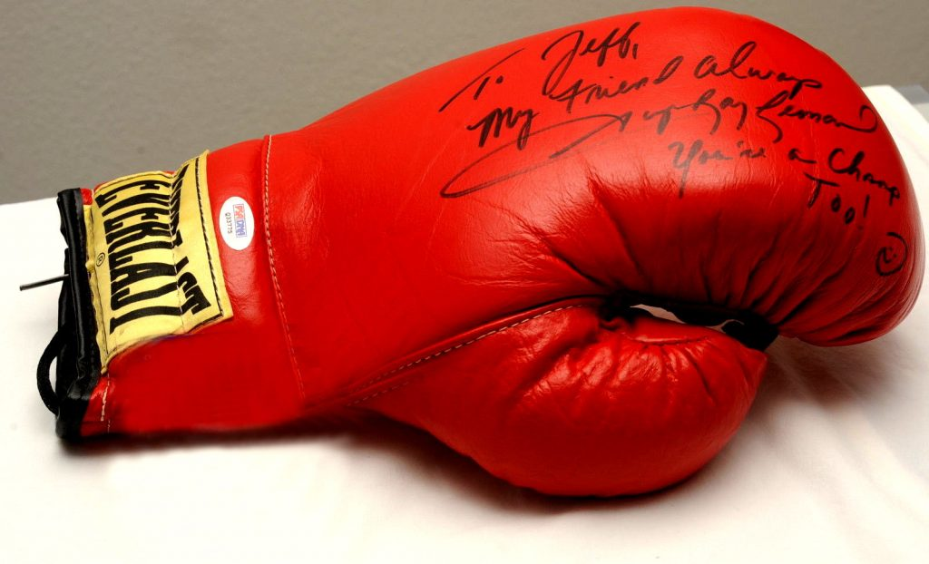 Sugar Ray Leonard was a family friend -- he signed this to me, and it's for sale, to benefit the building project.